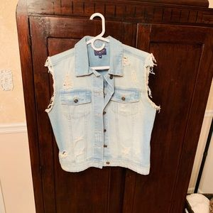 JustUSA distressed denim vest